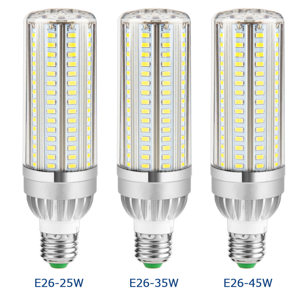 E27 Powerful LED Aluminum Corn Lamp led Bulb 220V Constant Current No Flicker 105 129 153leds Smart IC Energy saving Lights E26