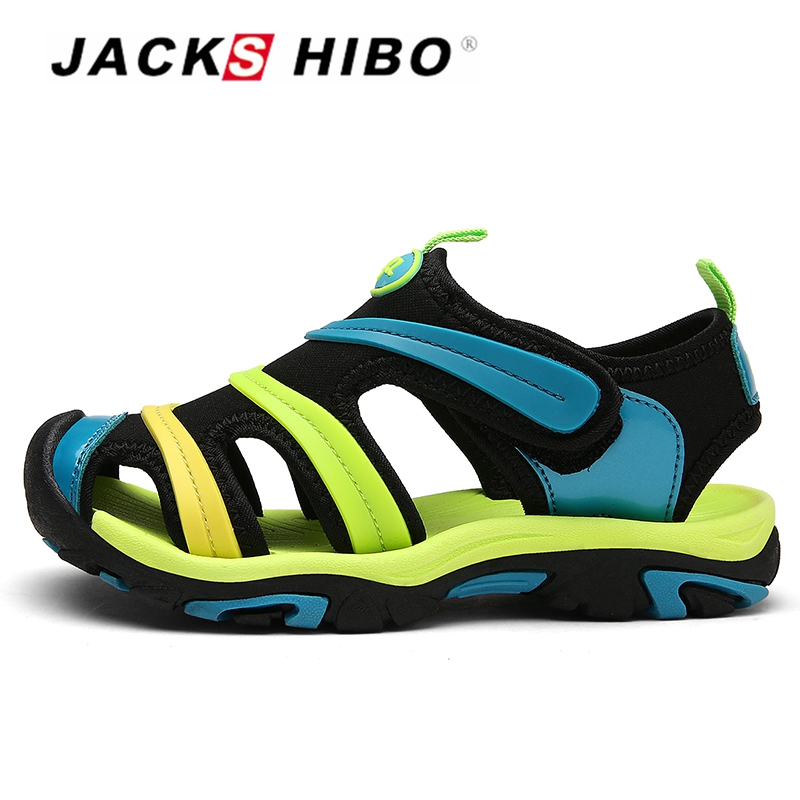 JACKSHIBO Kids Summer Sandals Child Cute Water Shoes Anti-skid Close toe Cut-out Durable Outsole Sandals School Footwear For kid ...
