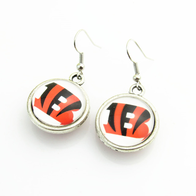 New Fashion Double Football Drop Earrings Cincinnati Bengals Team Logo For Women Jewelry 10pairs