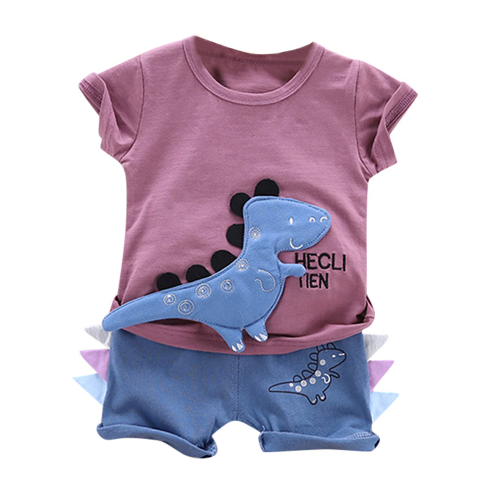 Summer New Fashion Toddler Baby Boys Cartoon Letter Dinosaur Print T Shirt Tops Shorts Outfits Set Wholesale Free Ship Z4