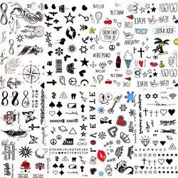 Горячие Маленькие Сексуальные губы лист черный Мультфильм Временные татуировки милые тату-наклейка в виде Звезды Любовь Женщины тело пале...
