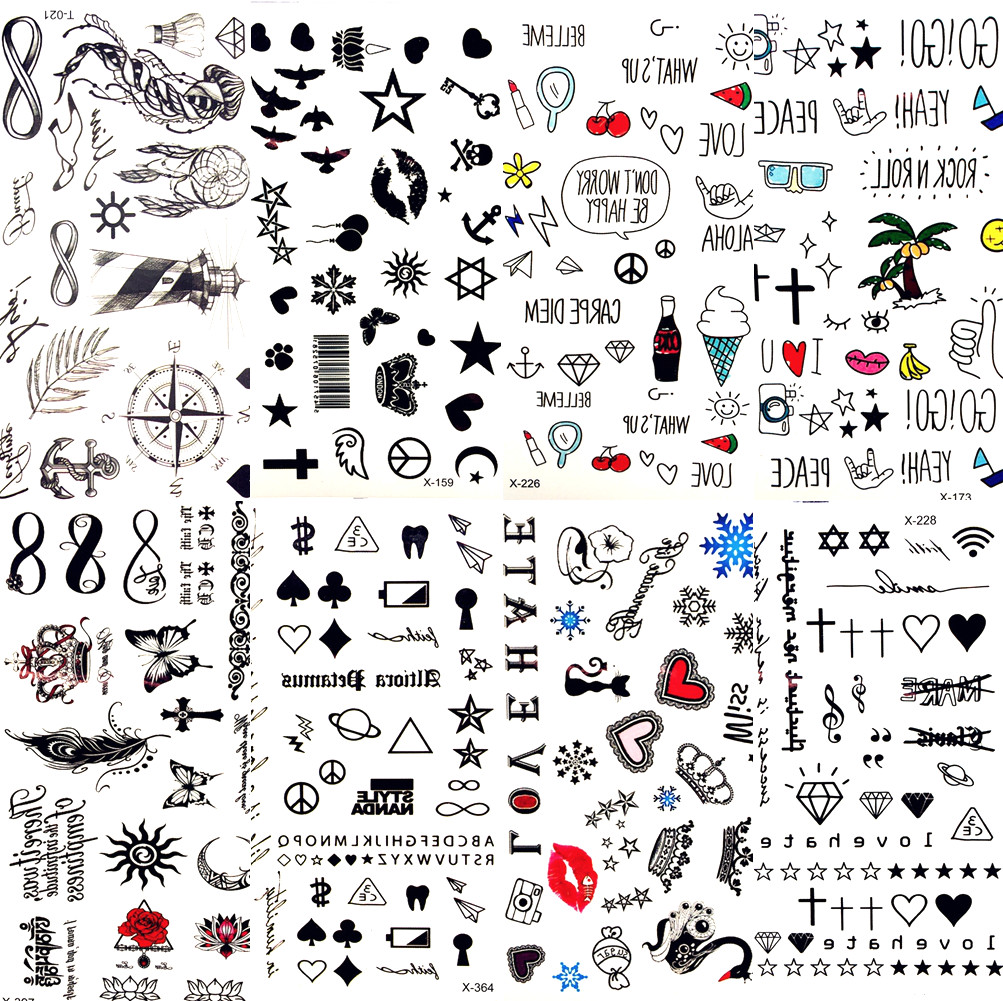 Горячие Маленькие Сексуальные губы лист черный мультфильм временная татуировка милые тату-наклейка в виде Звезды Любовь Женщины тело пале...