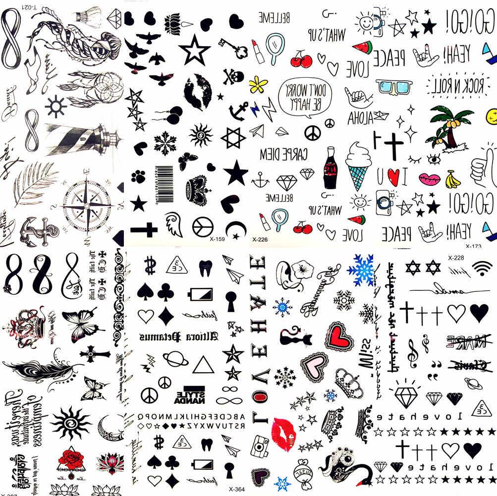 Panas Kecil Bibir Seksi Hitam Daun Kartun Sementara Tato Bintang Lucu Tato Stiker Cinta Wanita Tubuh Jari Seni Tahan Air Tato Anak