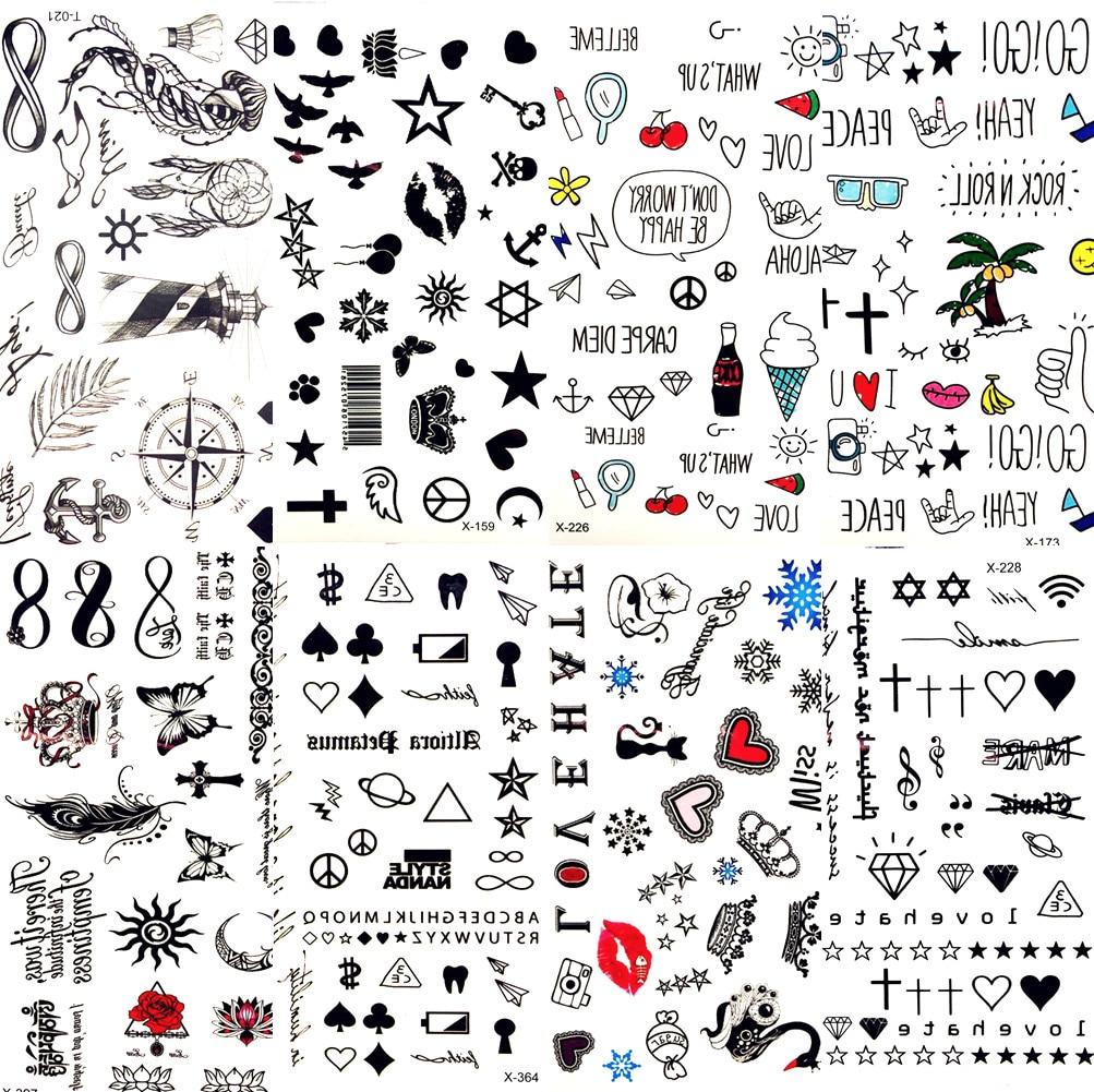 tatouage temporaire de levres et feuilles noires dessin anime mignon etoile autocollant amour femmes art du corps tatouage pour enfants