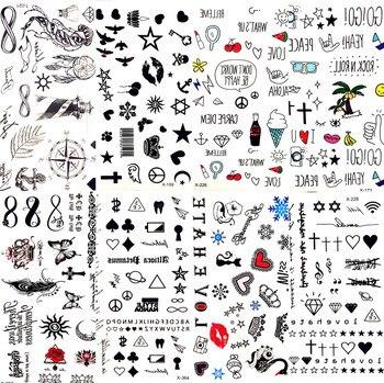 Tatuagem temporária de folha de lábios, sensual, pequena, desenho animado, estrela, adesivo de tatuagem, amor, mulheres, corpo, arte com dedos, impermeável, imperdível criança criança