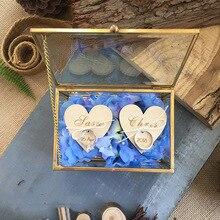 Персонализированная Геометрическая шкатулка для ювелирных изделий, подушка для несущей кольца, деревенская коробка для свадебного кольца, подарочные свадебные сувениры для помолвки