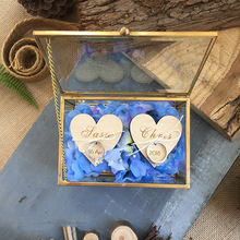 Personalized Geometric Jewelry Box Ring Bearer Pillow, Rustic Wedding Ring Holder Box Proposal Engagement Gift Wedding Favors