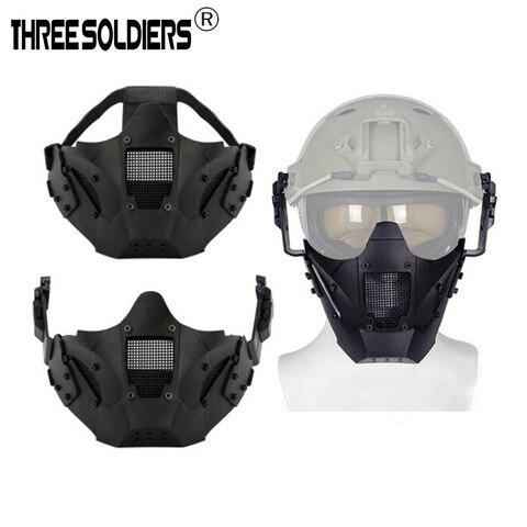 Tático ao ar ao ar Livre Tático Ferro Samurai Meia Máscara Protetora Facial Multifuncional Capacete Montado Equipamento .