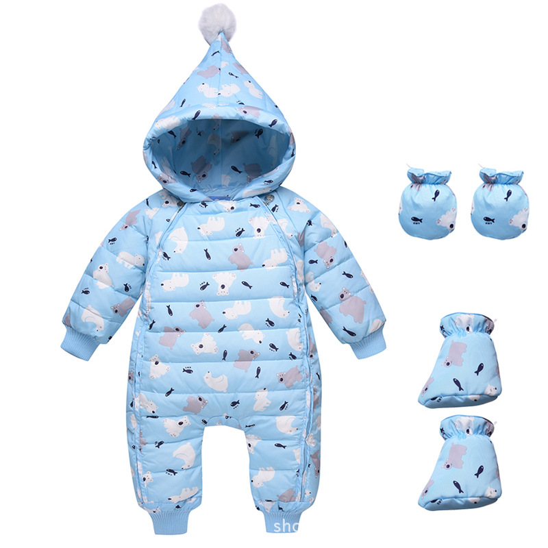 Bibicola Baby Winter Romper newborn Hooded Warm Soft Baby Pajamas For Boys Girls Overall Infant Clothing Toddler Jumpsuit 3pc