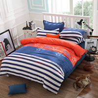 Home Textile Cotton Bedding Sets multicolor Striped Star Character Duvet Cover Pillowcase Bed Sheet Queen Size
