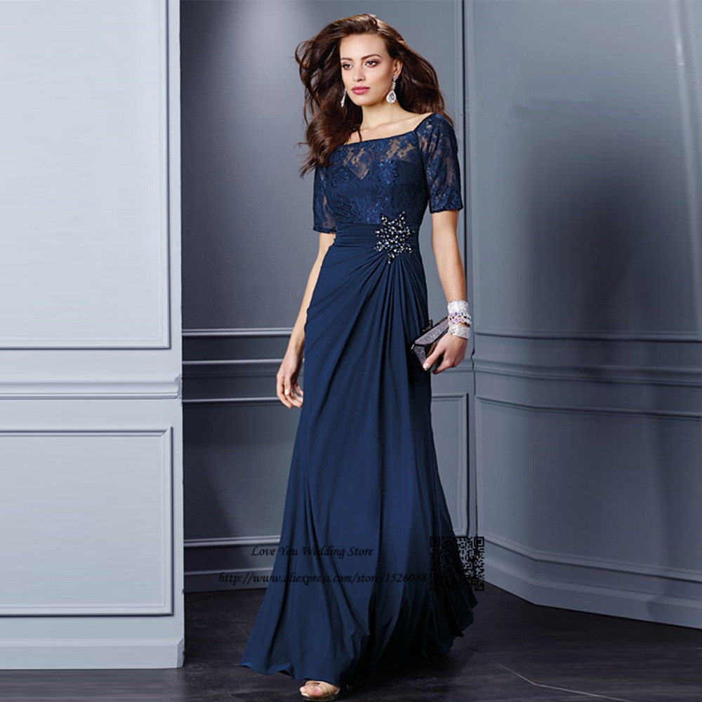 Plus Size Mother Bride Dresses: Elegant Navy Blue Groom Mother Dresses Plus Size Mother Of