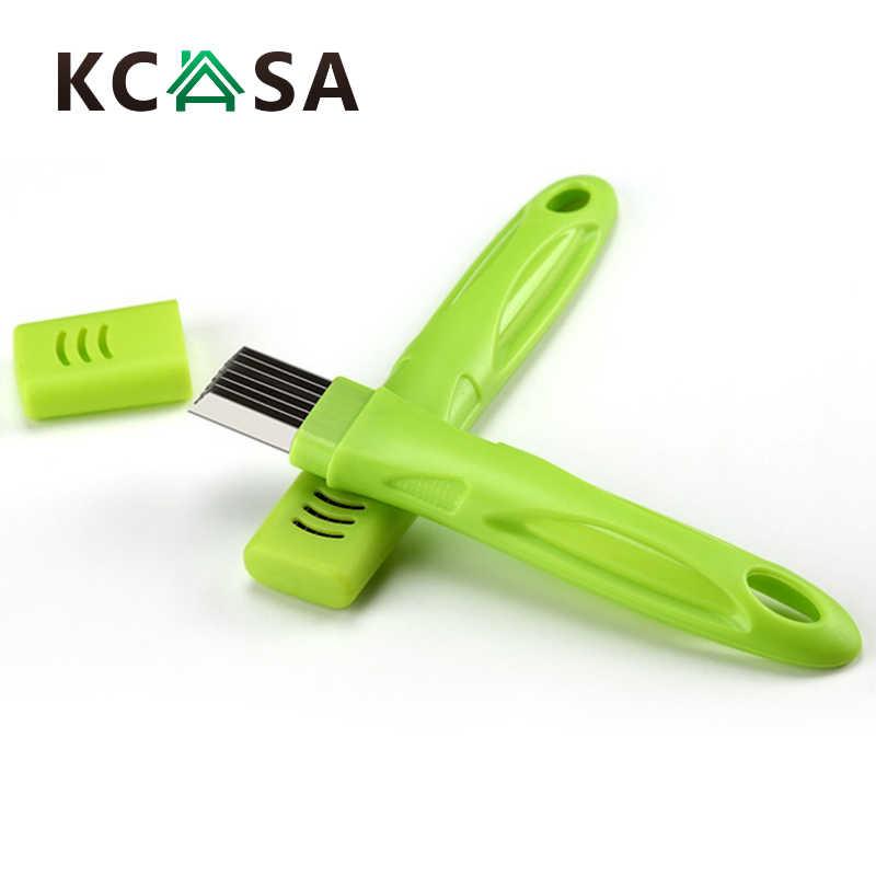 KCASA VT-OS Thép Không Gỉ Màu Xanh Lá Cây Hành Tây Slicer Shredder Cutter Rau Hành Lá Shred Cắt Công Cụ Cho nhà bếp công cụ tiện ích
