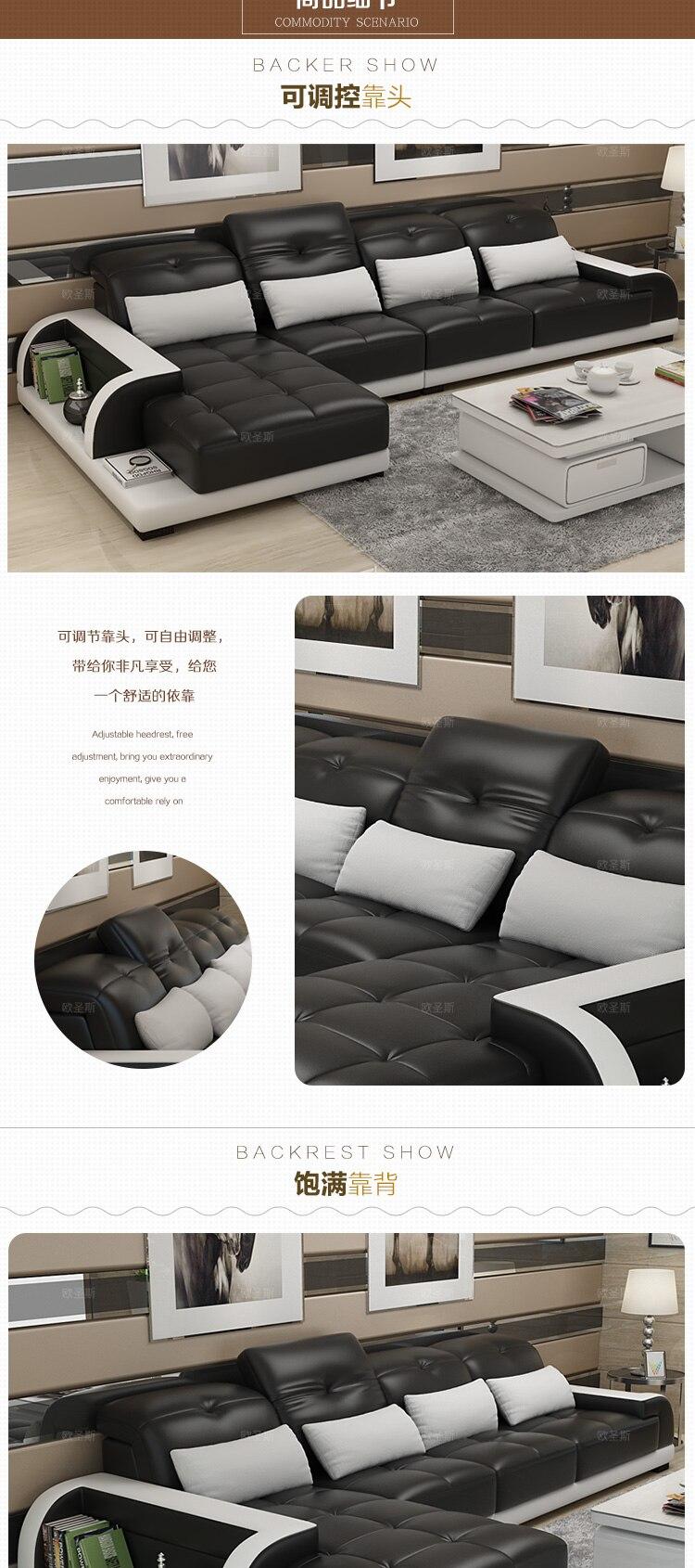 cheers barcelona noir et grand blanc couture l en forme de design moderne sectionnel en cuir de vache souple canape ensemble meubles de salon