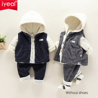 IYEAL Winter Baby Boys Clothing Set For Kids Casual Hooded Velvet Autumn Spring Children's Toddler Clothes Suits 1 2 3 4 Years