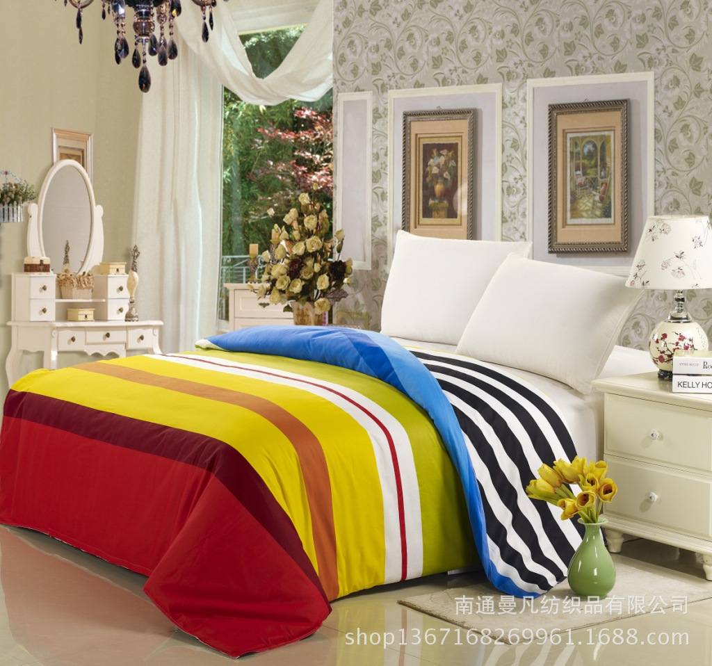 100%cotton rainbow beddingset duvet cover sheet pillowcase