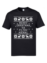 Ugly Christmas Sweatshirt T-shirts Elk Deer Merry Christmas Ya Filthy Animal 100% Cotton Brand Tops Shirt 3D Printed Tshirts Men