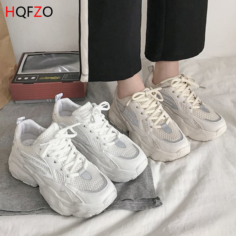 HQFZO Casual Breathable White Vulcanize Basket Femme Sneakers Platform Tenis Feminino Spring Autumn Female Shoes