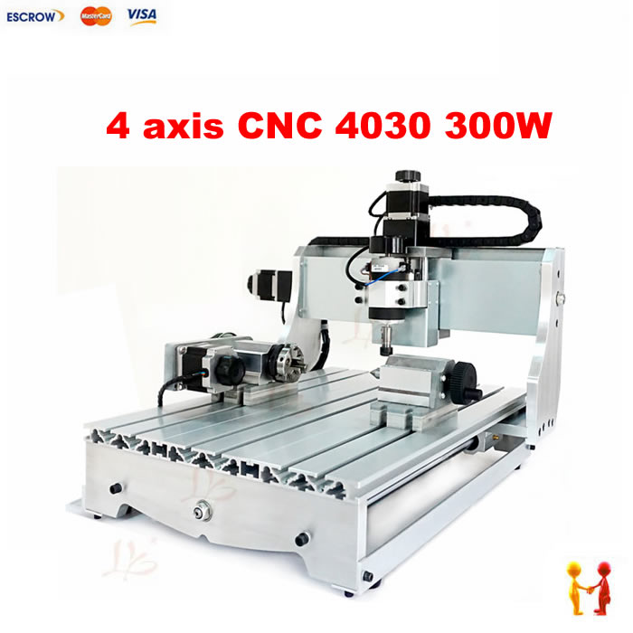 Factory 4 four axis 300W 3040 cnc router ballscrew cnc engraving machine drilling and milling free tax desktop cnc wood router 3040 engraving drilling and milling machine