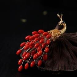 Amxiu индивидуальные итальянский ручной работы Природные драгоценные кораллы Броши Красный Павлин Брошь и подвеска для Для женщин вечерние