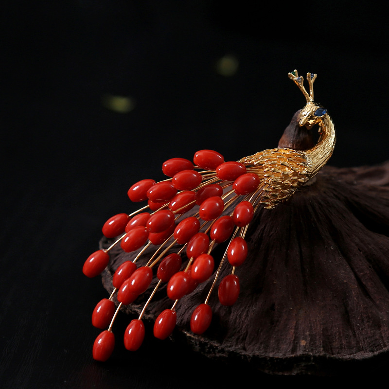Amxiu Customized Italian Handmade Natural Precious Corals Brooches Red Peacock Brooch and Pendant for Women Party Accessories цена 2017