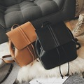 Retro PU Leather Backpack Women Drawstring Backbag Ladies Zipper Daily Bagpack Small Vintage School Backpacks For College Girls