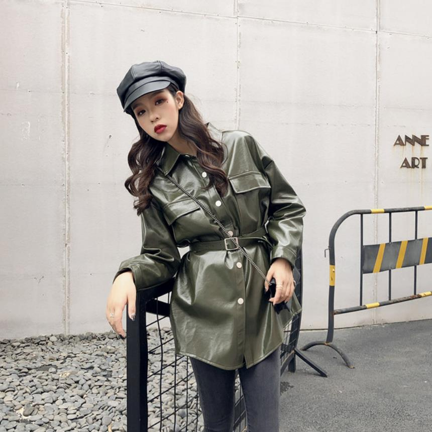 Fashion brand Glossy patent   leather   jackets pu   leather   jacket female street style single breasted long   leather   jacket wq561