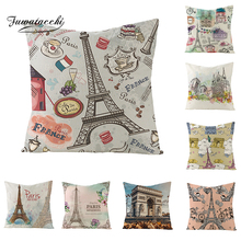 Fuwatacchi Famous Paris Scenery Architecture Cushion Cover Old Castle Throw Pillow Oil Painting Pillowcases
