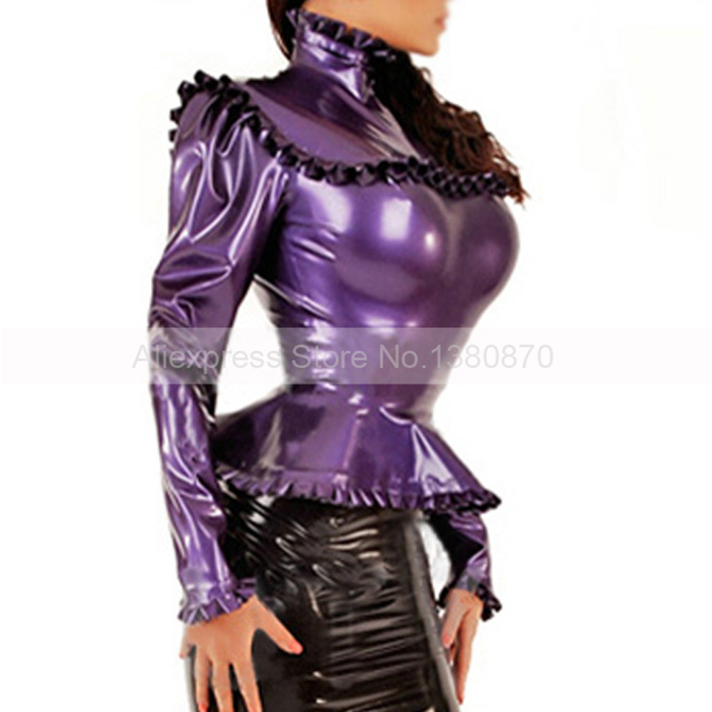 Rubber Latex  Blouse Women   Costumes with Back  Silver Press Buttons S-LSW014