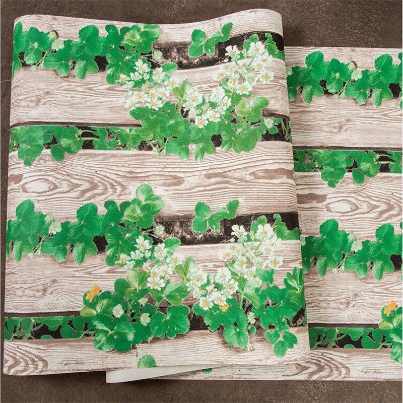 beibehang 3d three-dimensional wood grain green plants vertical stripe wallpaper Idyllic flowers retro porch personality wall 3 dimensional miniplates