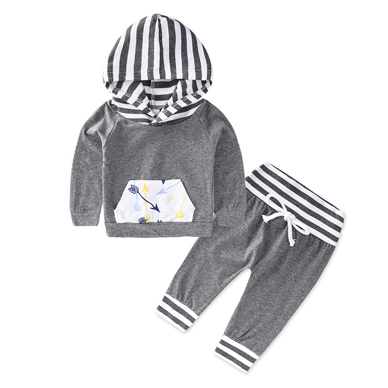 Spring Autumn Set of Clothes for Little Girls for Newborn Baby Clothing Set with Hooded+Pants Fashion Infant Bebe Outsuit