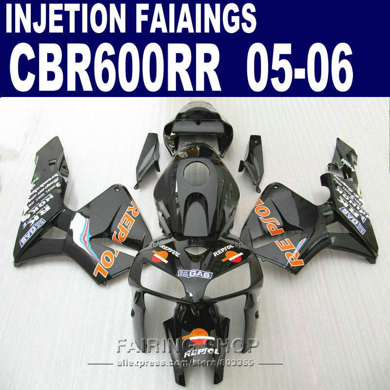 Decal REPSOL Carenature Per Honda CBR 600 RR 2006 2005 (nero arancione) cbr600rr 05 06 Iniezione Abs Carena kit l83