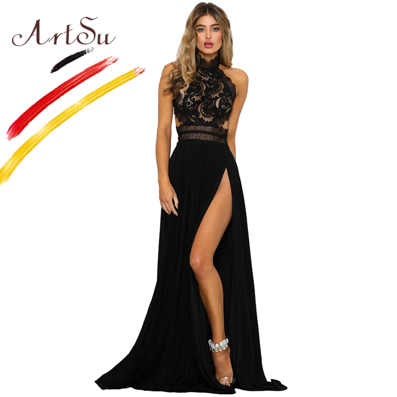5329de0f51 ArtSu Sexy Halter Hollow Out Maxi Lace Party Dress Women Red Black High  Split Zipper Backless Patchwork Floor-Length Robe Femme