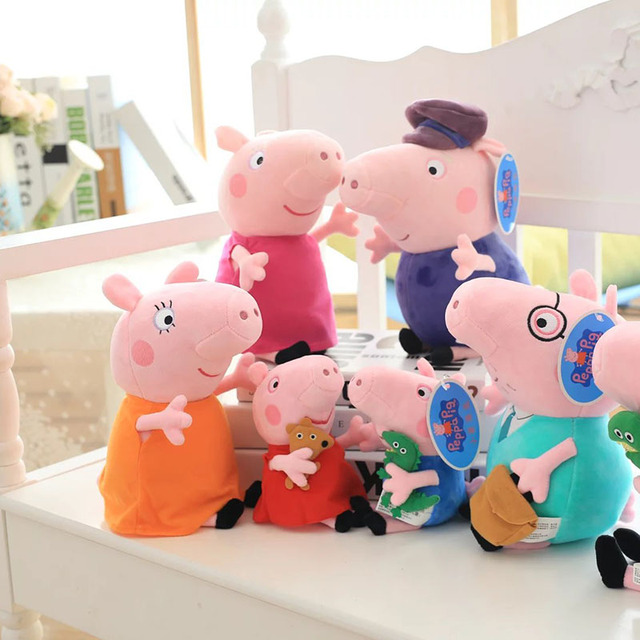 One Set(4pcs) 30cm Pig Plush Toy George Pig  Family Mom Dad Grandparents Stuffer Plush Toy Pink Pig Stuffed Doll Kids Toys