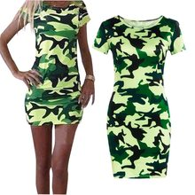 Fashion 2018 Women Summer Dress Military Green Color Short Sleeve O Neck Casual Dress Elegant Bodycon Mini Pencil Dress Women(China)