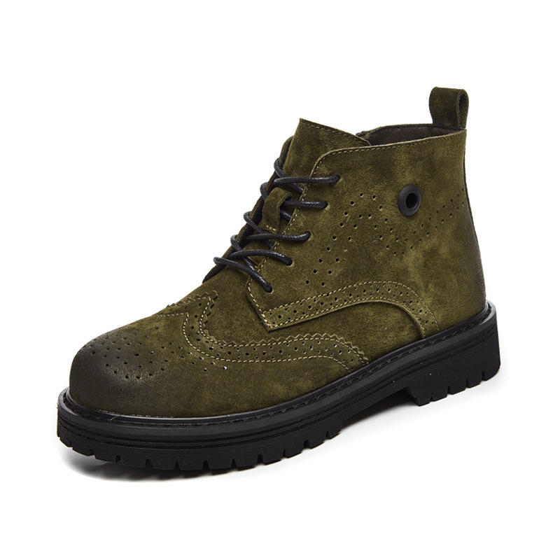 Cremallera Zapatos Feminino Sapato verde Mujer marrón Más Vaca Redonda Punta La Alta Del Cordones Tamaño Mujeres Botas Con Tobillo Calidad Negro De aUTngzq