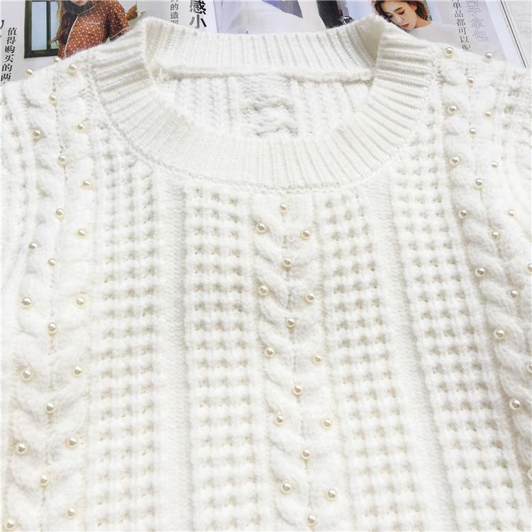 Printemps Ongles En Manuel 2018 Ourlet Appel Tricot Blanc Pull Falbala Nouvel Doux Perle D'offres 8808 Y5gqwAA
