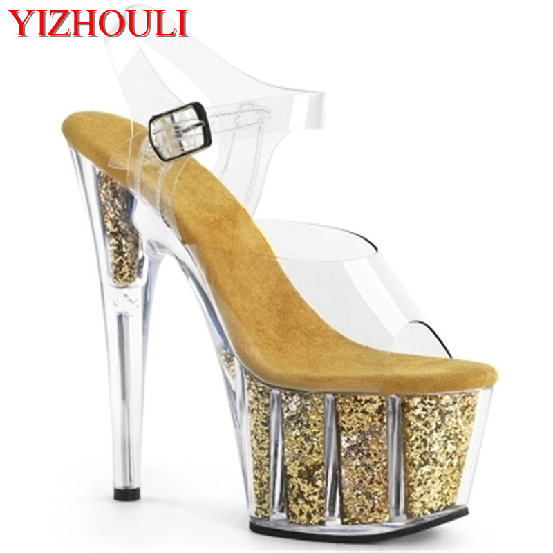 The newest on the market 15 centimeters thick high-heeled shoes, sexy sequin waterproof platform, fashionable female sandalThe newest on the market 15 centimeters thick high-heeled shoes, sexy sequin waterproof platform, fashionable female sandal