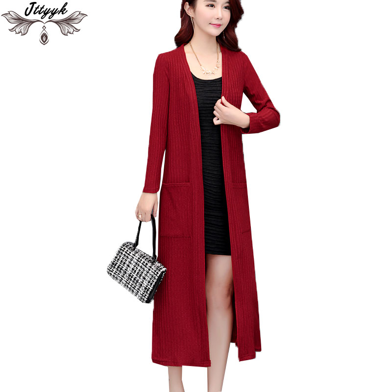 Plus size Summer Cardigan jacket Women 2018 New spring Long Knit Sweater Outside Shawl Coat Thin Section ice Silk Cardigan LJ283