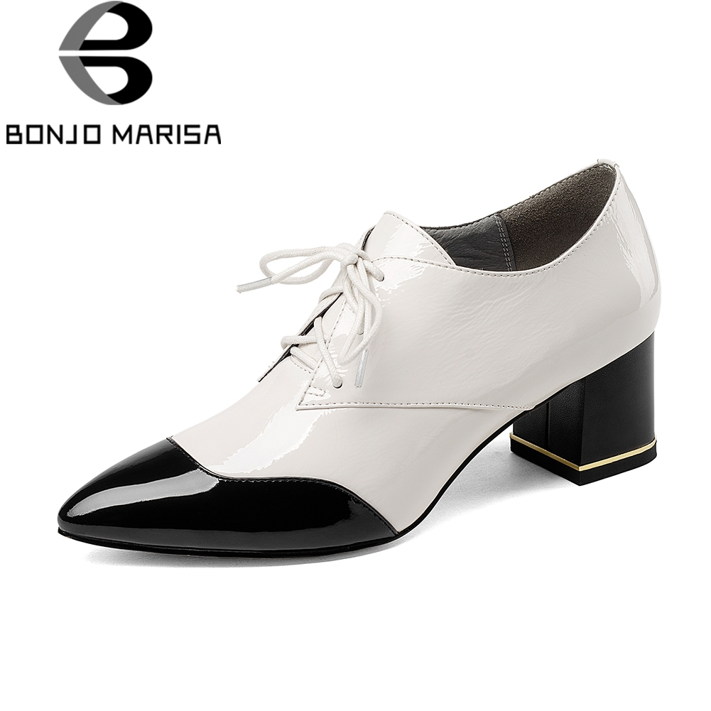 BONJOMARISA High Quality mixed-color Pumps Women Genuine Leather Ol High Heels Shoes Woman lace-up Large Size 33-43 Work Shoes bonjomarisa large size 33 42 women s genuine leather lace up wedges increasing platform shoes woman casual spring flats