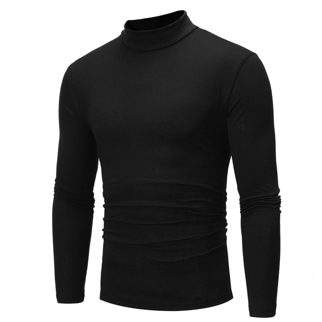 a494b1e36909 Men Clothing Slim Turtleneck Full Sleeve T Shirt 2018 Casual Solid Color  Tops Tees Compression Bodybuilding for Male Streetwear