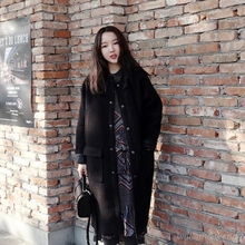 Woman's Thicken Black Button Palto Woolen Maxi Down Coats Autumn Long Warm Jacket Manteau Femmee Korean Cloak Winter Windbreaker