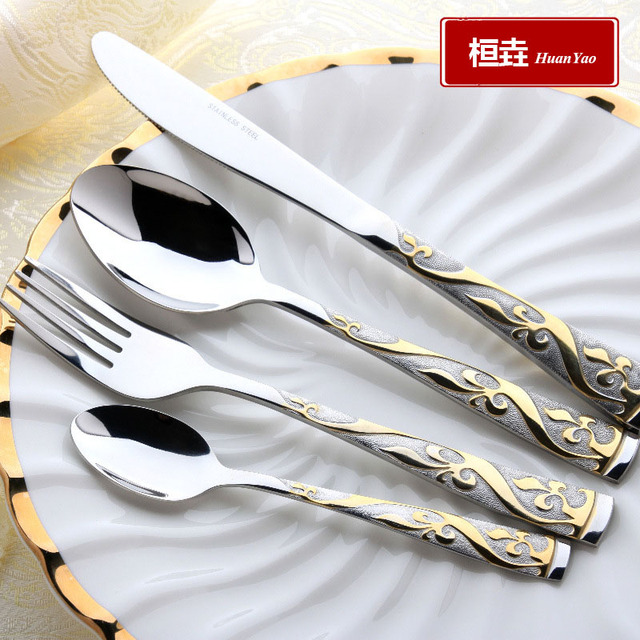 4 Pieces Vintage Western Gold Plated Dinnerware Dinner Fork Knife Set Golden Cutlery Set Stainless Steel  sc 1 st  AliExpress.com & 4 Pieces Vintage Western Gold Plated Dinnerware Dinner Fork Knife ...