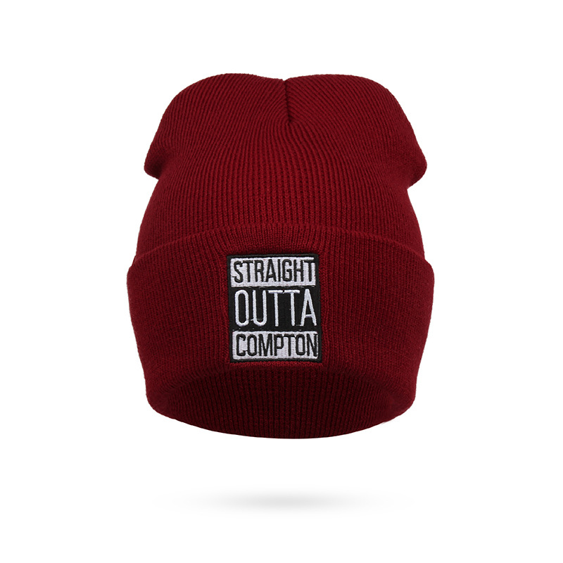 Men and Women Letter Straight Outta Compton Knitted Wool Acrylic Cap Europe and The United States Style Hip-Hop Beanie Hat RX115 20 colors fall and winter europe and the united states men and women s bad hair day embroidery beanie kintted wool hat hiphop