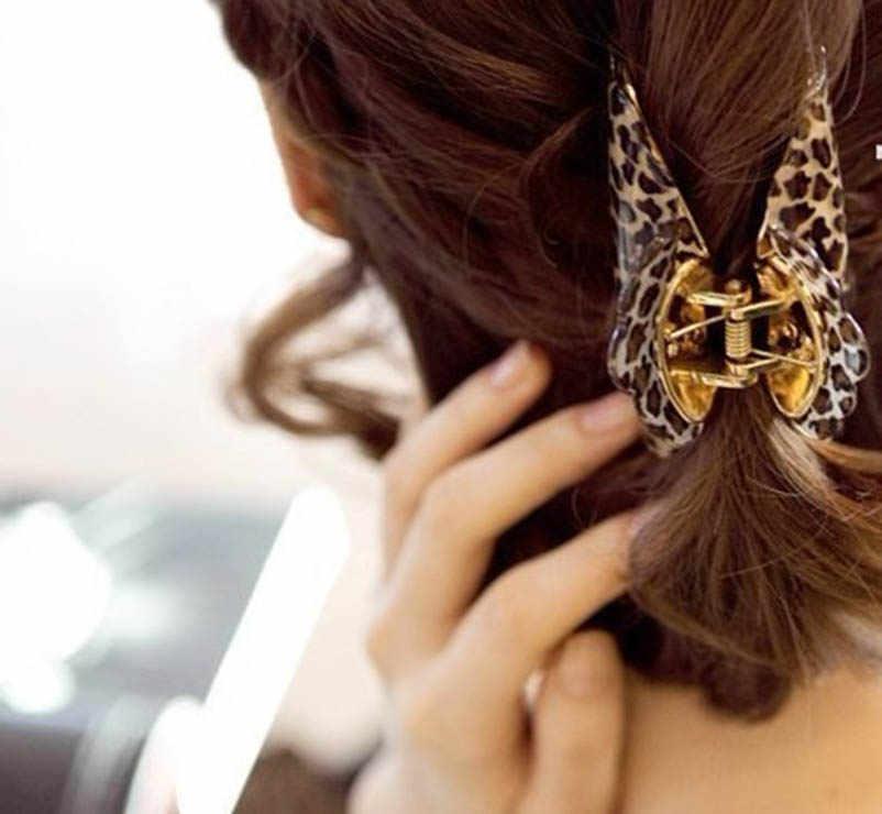 9 Cm 7 Cm 4 Cm Akrilik Macan Tutul Cetak Sisir Klip Rambut Hiasan Kepala Aksesoris Rambut untuk Wanita