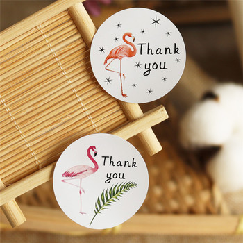 108pcs Flamingo Round Thank You Paper Stickers Candy Dragee Gift Box Mariage Wedding Party DIY Craft Gift Wrapping Paper Labels image