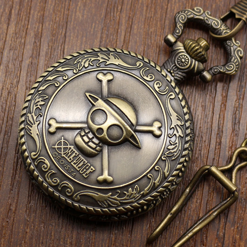 Vintage Bronze Pirate Skull One Piece Pocket Fob Watch Quartz Steampunk Necklace Men Women Cool Pendant Retro
