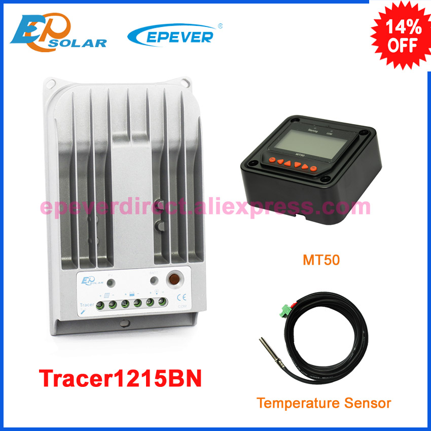 10A 10amp Tracer1215BN with temperature sensor solar battery regulator MT50 remote meter free shipping Max PV input 150v free shipping relay digital pv sv display temperature control meter 0 400c ac220v 50 60hz