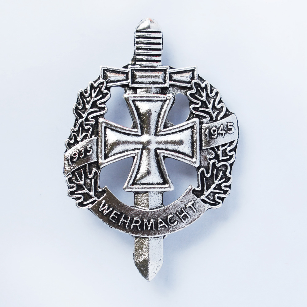 WW2 GERMAN WEHRMACHT WH MILITARY BADGE 1935-1945 WITH IRON CROSS SILVER-50053