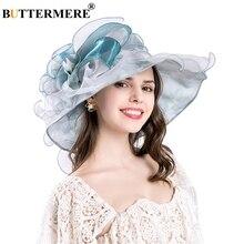 BUTTERMERE Organza Sun Hats Women Flower Blue Female Summer Wedding Caps Elegant Floral UV Ladies Church 2019 New Fashion