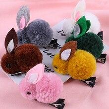 Cute Rabbit Hair Clip for Girls Kids Korean Princess Elastic Bands Handmade Hairpins Barrettes Accessories